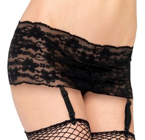 Black Lace Garter Belt Set