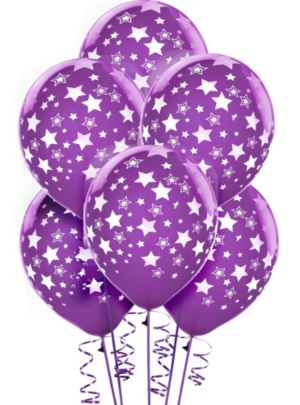 Purple Star Balloons 6ct