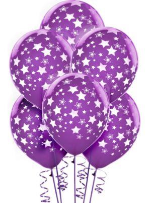 Purple Star Balloons 6ct