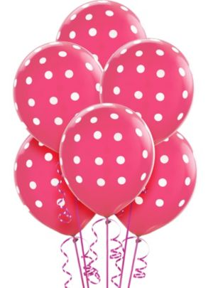 Bright Pink Polka Dot Balloons 6ct