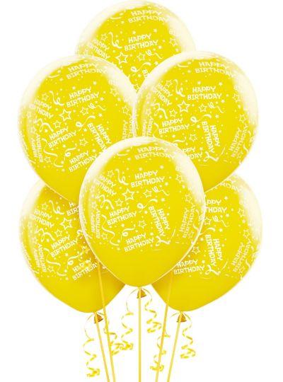 Yellow Birthday Balloons 6ct - Confetti