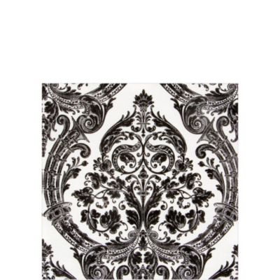 White & Black Grandeur Beverage Napkins 20ct