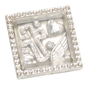 Silver Crystal Cross Square Ring