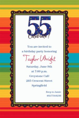 Custom A Year to Celebrate 55th Invitations