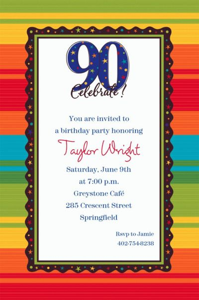 Custom A Year to Celebrate 90th Invitations