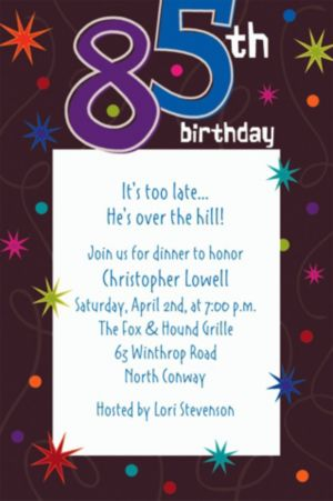 Custom The Party Continues 85th Invitations