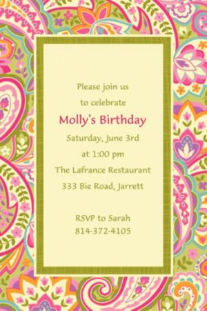 Custom Pretty Paisley Invitations