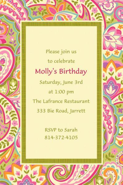 Custom Pretty Paisley Invitations