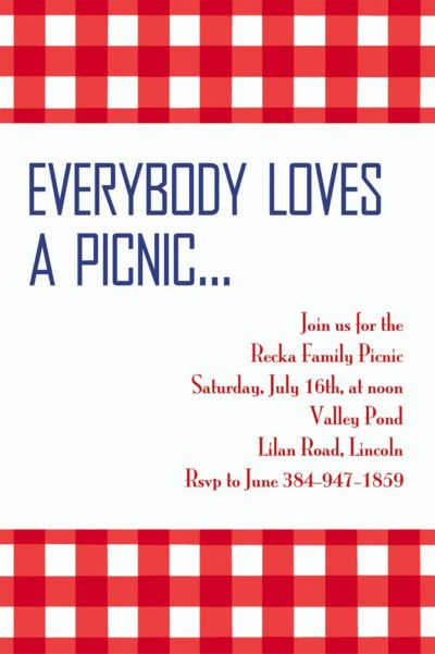 American Summer Red Gingham Custom Invitation