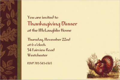 Custom Thanksgiving Sophistication Invitations