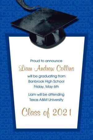 Custom Royal Blue Congrats Grad Announcements