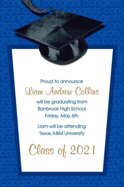Blue Congrats Grad Custom Graduation Announcement