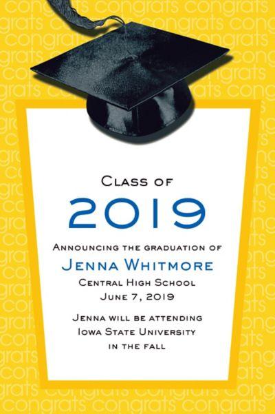 Custom Yellow Congrats Grad Announcements