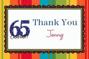 Custom A Year to Celebrate 65th Thank You Notes
