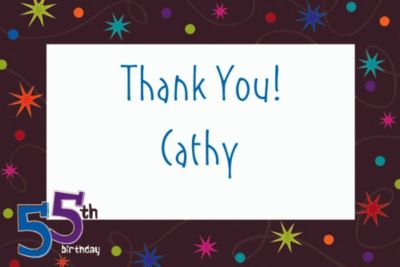Custom The Party Continues 55th Thank You Notes