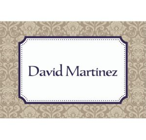 Custom Navy Classic Damask Border Graduation Thank You Notes