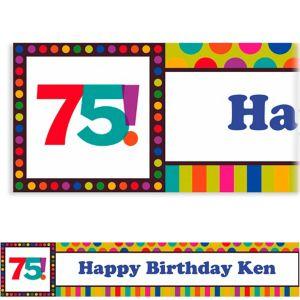 Custom Birthday Dots & Stripes 75th Banner 6ft
