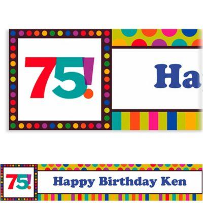 Birthday Dots & Stripes 75 Custom Banner 6ft