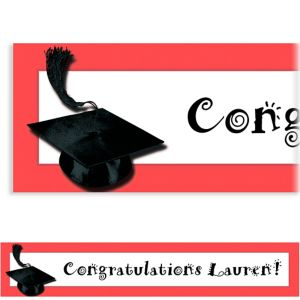 Custom Red Congrats Grad Banner 6ft