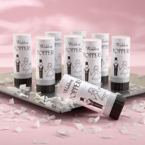 White Wedding Confetti Party Poppers 12ct