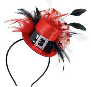 Red & Black Top Hat Headband