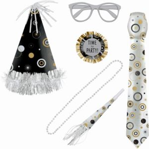 Black, Gold & Silver Party Accessory Kit 6pc
