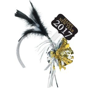 Black, Gold & Silver 2017 New Year's Feather Headband