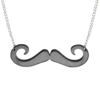 Black Moustache Necklace 15in