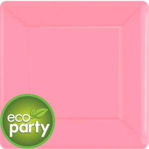 Eco-Friendly Pink Paper Square Dinner Plates 20ct