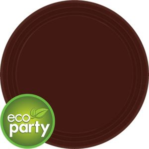Eco-Friendly Chocolate Brown Paper Lunch Plates 24ct