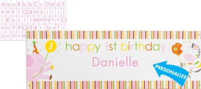 Pink Sweet at One Personalized 1st Birthday Banner