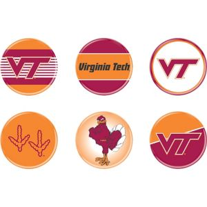 Virginia Tech Hokies Buttons 6ct
