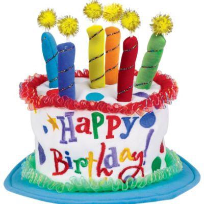 Plush Blue Birthday Cake Hat 12in X 10in