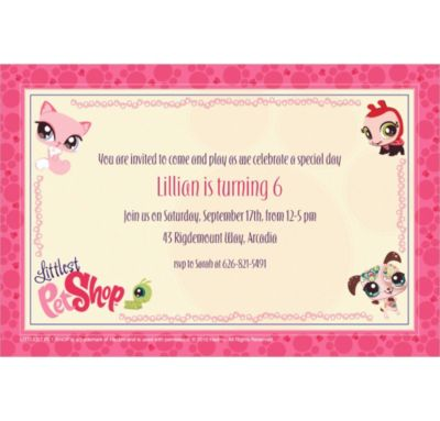Custom Littlest Pet Shop Invitations
