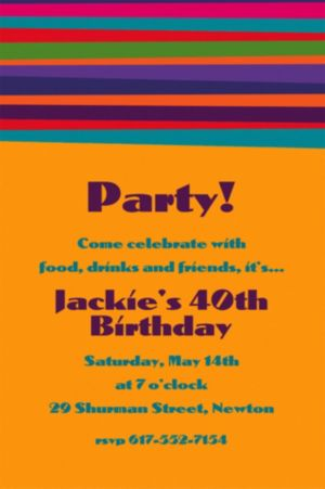 Custom Birthday Stripe Invitations