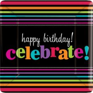 Happy Birthday Dinner Plates 8ct - Rainbow Stripes