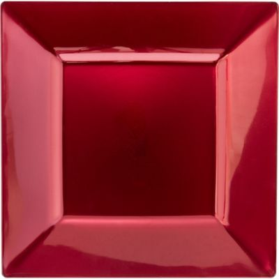 Burgundy Plastic Square Dinner Plates 10ct