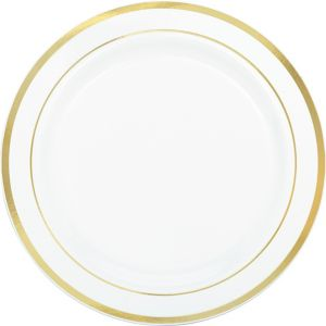 White Gold-Trimmed Premium Plastic Dinner Plates 10ct