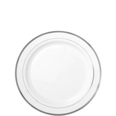 White Silver Trimmed Premium Plastic Appetizer Plates 20ct