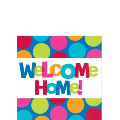 Cabana Polka Dot Welcome Home Beverage Napkins 16ct