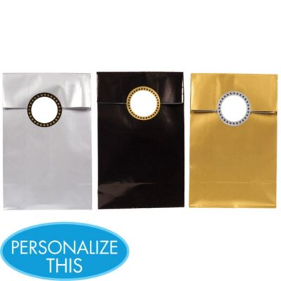 Personalized Paper Favor Bags with Stickers 12ct - Glitter Starz