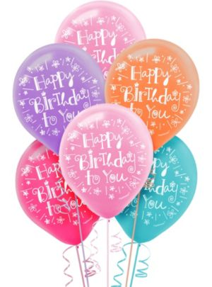 Happy Birthday Balloons 15ct - Sweet Stuff