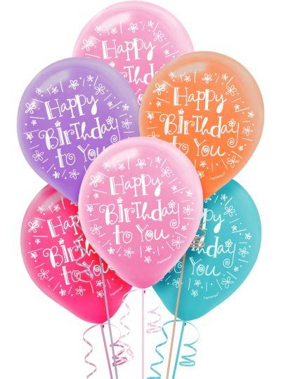 Happy Birthday Balloons 15ct - Sweet Stuff