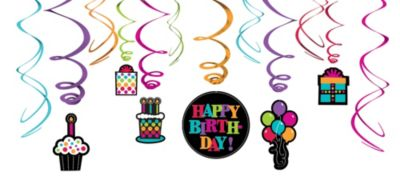 Happy Birthday Swirl Decorations 12ct - Rainbow Dot
