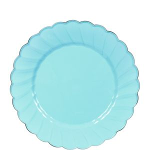 Robin's Egg Blue Scalloped Plastic Dessert Plates 20ct