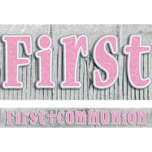 Pink Fringe First Communion Banner