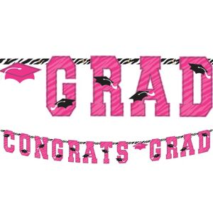 Zebra Party Graduation Letter Banner