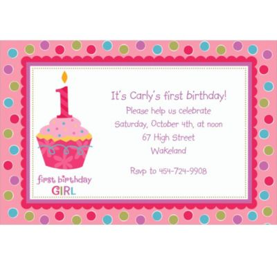 Custom Sweet Little Cupcake Girl Invitations