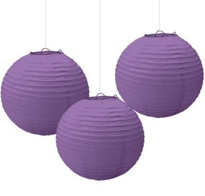 Purple Paper Lanterns 9 1/2in 3ct