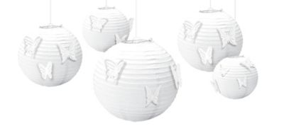 Butterfly White Paper Lanterns Kit 5ct
